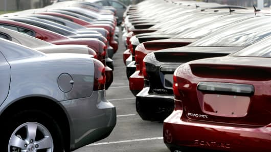 New vehicles sit at a General Motors dealership