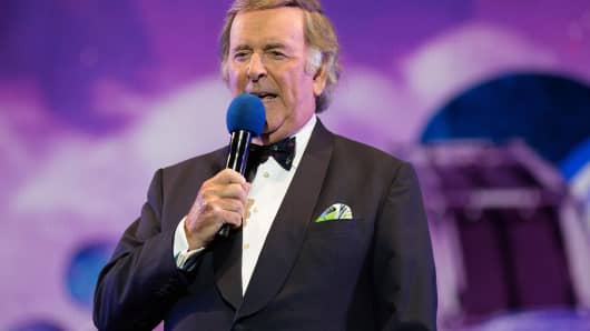 Sir Terry Wogan is pictured onstage while hosting the BBC Proms in the Park at Hyde Park, London, on Sept. 12.