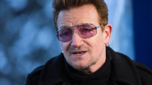 Bono at the 2016 World Economic Forum in Davos, Switzerland.