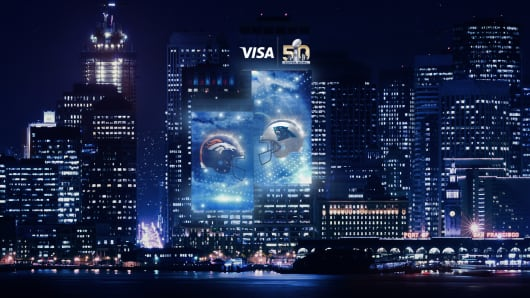 Visa Super Bowl 50 digital light show.