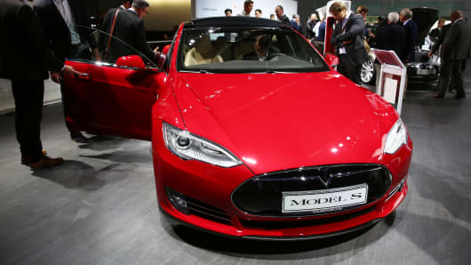 Tesla Model S is seen ahead of the IAA Frankfurt Motor Show in Frankfurt, Germany on September 15, 2015.