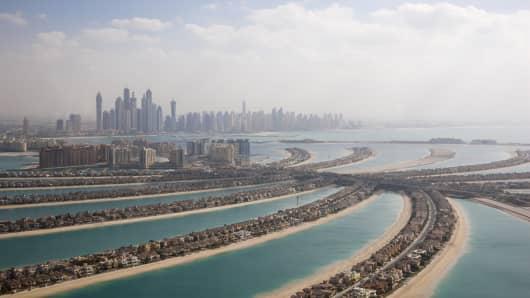 Aerial shot of The Palm Island Dubai