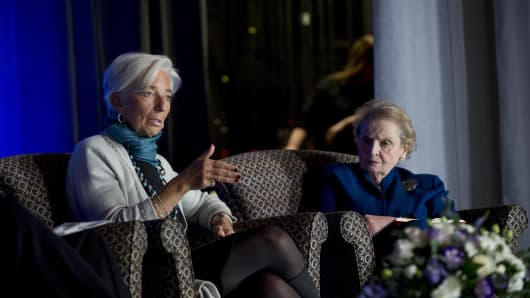 IMF's Christine Lagarde and former Secretary of State Madeline Albright discuss poverty at the Albright Institute, Wellesley College.