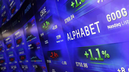 Electronic screens post prices of Alphabet stock, Monday, Feb. 1, 2016, at the Nasdaq MarketSite in New York.