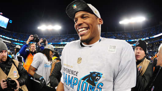 Cam Newton #1 of the Carolina Panthers celebrates after the NFC Championship Game against the Arizona Cardinals at Bank Of America Stadium on January 24, 2016 in Charlotte, North Carolina.