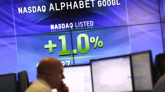 Electronic screens post the price of Alphabet stock