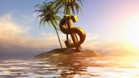 Dollar Sign in calm waters