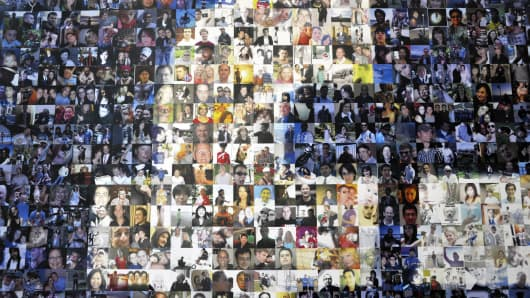 A collage of profile pictures makes up a wall in the break room at a Facebook data center in North Carolina.