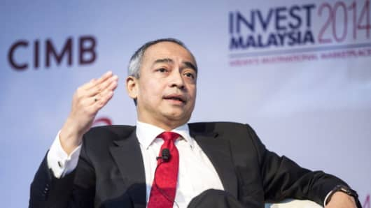 Nazir Razak, chief executive officer of CIMB Group Holdings Bhd., speaks during the Invest Malaysia Conference in Kuala Lumpur, Malaysia, on Monday, June 9, 2014.
