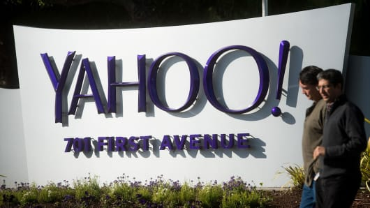 People walk on the Yahoo headquarters corporate campus in Sunnyvale, California.