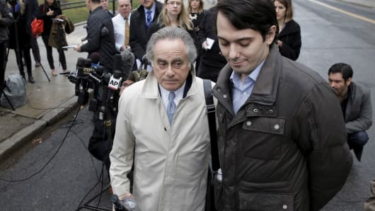 Former drug executive Martin Shkreli (R) exits with his lawyer Benjamin Brafman at the U.S. Federal Courthouse in Brooklyn, New York February 3, 2016.