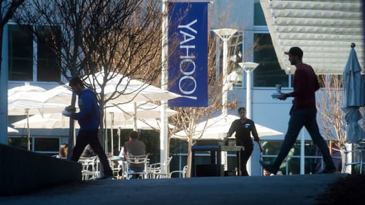 People walk between buildings on the Yahoo headquarters corporate campus in Sunnyvale, California.