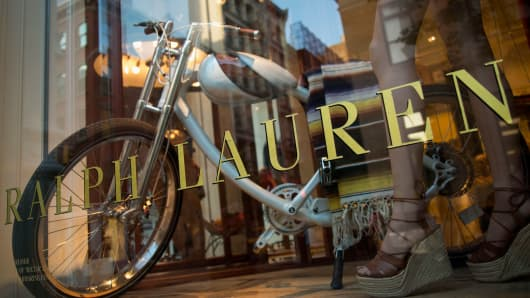 Ralph Lauren signage is seen on the window of a store on Prince Street in New York.