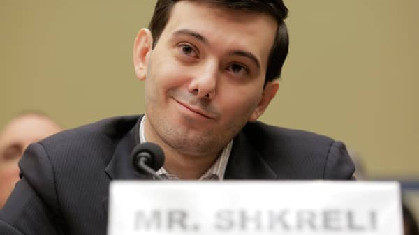 Martin Shkreli, former CEO of Turing Pharmaceuticals, prepares to testify before a House Oversight and Government Reform hearing on Capitol Hill, Feb. 4, 2016.