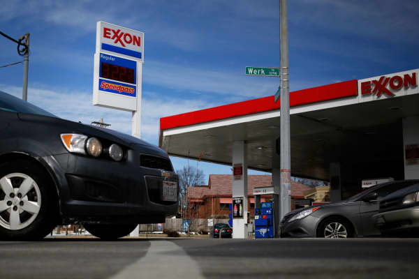 An Exxon Mobil station in Cincinnati, Ohio.