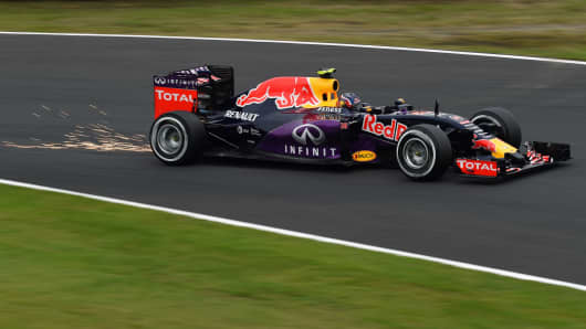 Red Bull driver Daniil Kvyat of Russia drives his car during the qualifying session at the Formula One Japanese Grand Prix in Suzuka on September 26, 2015.