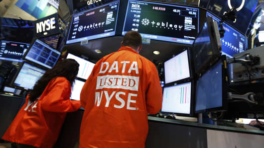 Tableau Software on the floor of the New York Stock Exchange