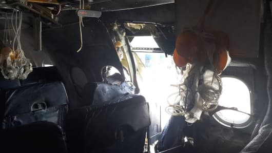 A view of an airliner after an explosion aboard Daallo Airlines Airbus flying to Djibouti, on February 2, 2016.