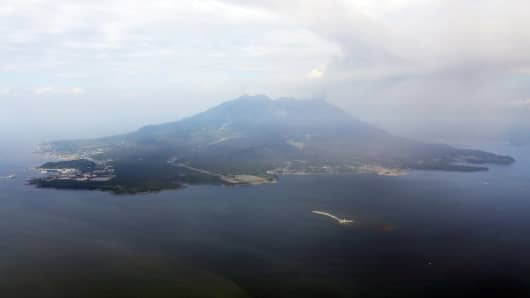 An aerial view of Sakurajima taken in August 2015