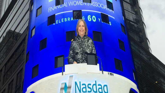 An image of Katrin Dambrot, president of the Financial Women's Association of New York, appears on the Nasdaq market site, Feb. 4, 2016.