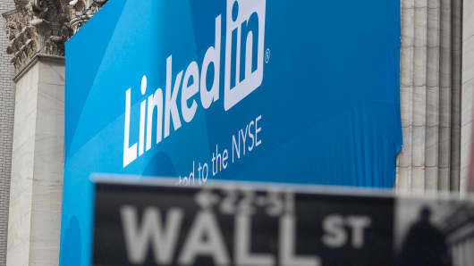A LinkedIn Corp. banner hangs on the front of the New York Stock Exchange in New York, U.S., on Thursday, May 19, 2011.