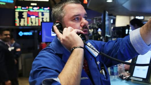 A trader on the floor of the New York Stock Exchange.