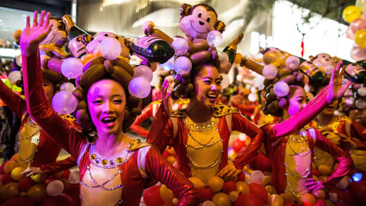 Performers participate at the 2016 Cathay Pacific International Chinese New Year Night Parade on February 8, 2016 in Hong Kong.