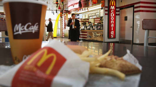 Customers order food from a McDonald's restaurant
