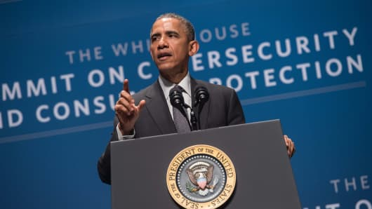 President Barack Obama speaks at the White House Summit on Cybersecurity and Consumer Protection at Stanford University in Palo Alto on February 13, 2015.