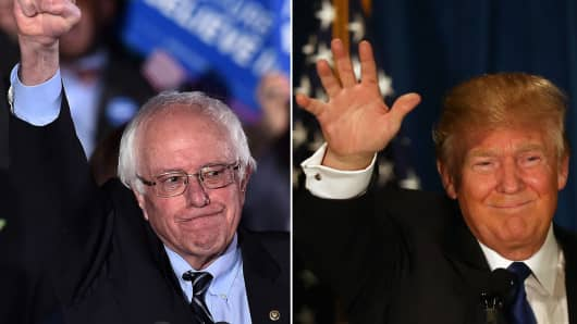 Sen. Bernie Sanders and Donald Trump win the New Hampshire primary on Feb. 9, 2016.