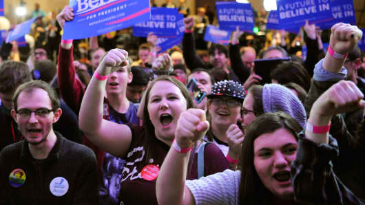Supporters of U.S. Democratic presidential candidate Bernie Sanders.