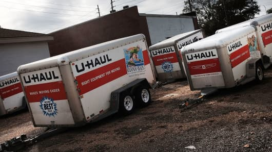 U-Haul trailers sit in a parking lot in Biloxi, Mississippi.