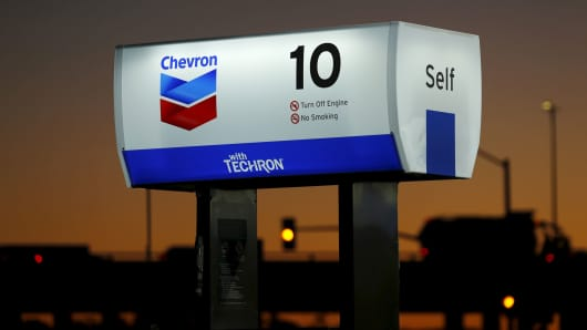 Chevron gas station is seen in Cardiff, California.