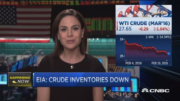 Oil inventories down, glut hurts prices