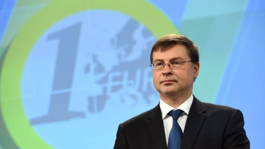 European commissioner for the Euro and social dialogue Valdis Dombrovskis holds a press conference at the European Commission in Brussels
