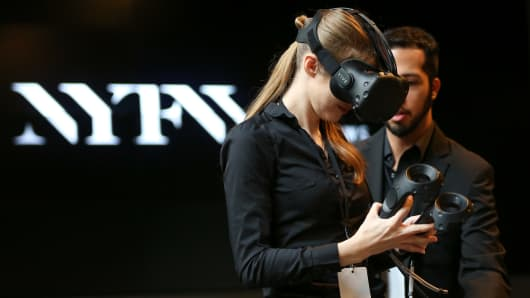 Intel virtual reality Vive interactive demo at NYFW on Feb. 11, 2016.