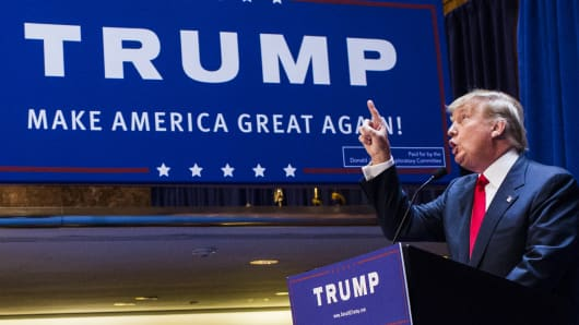 Donald Trump announces his candidacy for the U.S. presidency at Trump Tower in New York City.