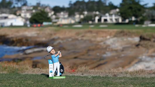 A Jordan Spieth bobblehead at Pebble Beach