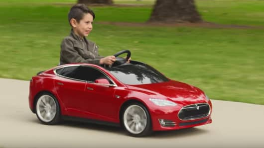 Tesla and Radio Flyer have produced a Tesla Model S car for kids.: https://www.cnbc.com/2016/02/16/radio-flyer-to-sell-tesla-model-s...