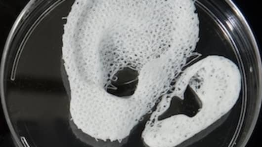 The 3D printer seeds different types of cells onto various scaffolds including ear cartilage.