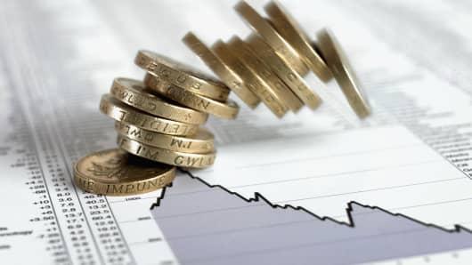 British pound coins falling