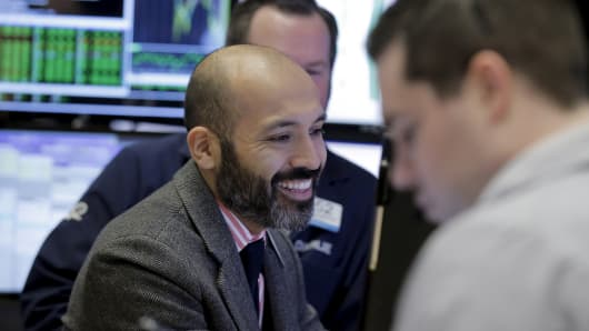 NYSE Trader happy  smiling