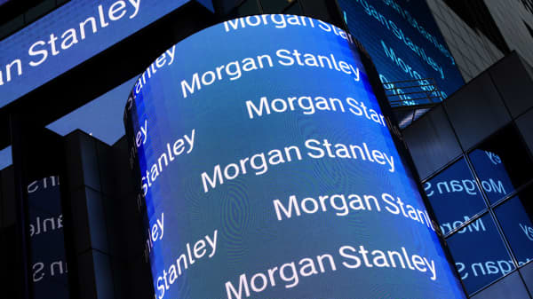 Electronic signage at the headquarters of Morgan Stanley in New York.