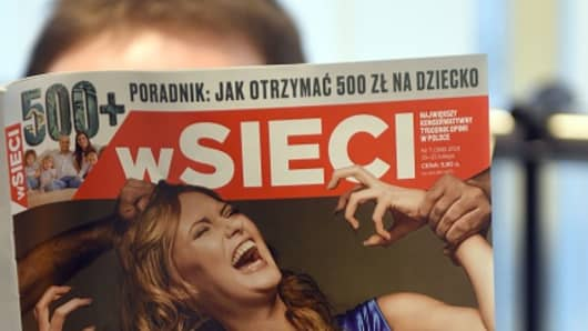 This picture shows a front page of a xenophobic and nationalist Polish weekly 'W sieci' ( On the web) with title 'Islamic rape of Europe' on February 18, 2016 in Warsaw.