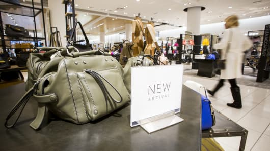 Handbags and luggage are displayed for sale in a Nordstrom Inc. store.