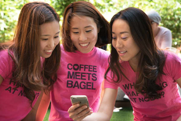 The founders of Coffee Meets Bagel—Dawoon, Arum and Soo Kang—found that pitching their product to friends and acquaintances when getting started was a great move.