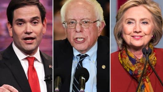 Marco Rubio, Bernie Sanders, Hillary Clinton