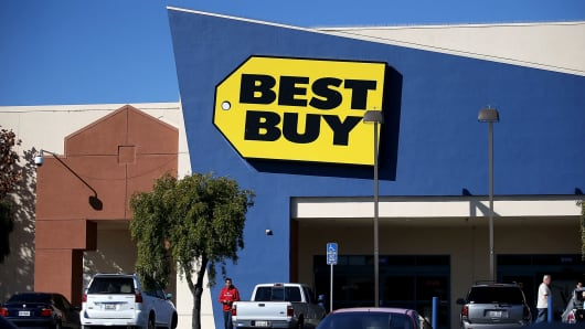 The exterior of a Best Buy store in San Bruno, California.