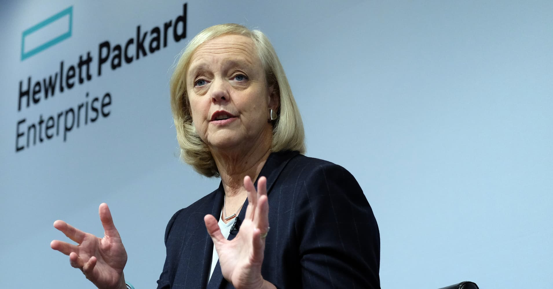 newly formed hewlett packard enterprise chief executive officer ceo meg whitman speaks during