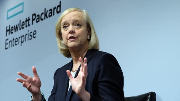 Newly formed Hewlett-Packard Enterprise Chief Executive Officer (CEO) Meg Whitman speaks during a press conference in New York on November 2, 2015.
